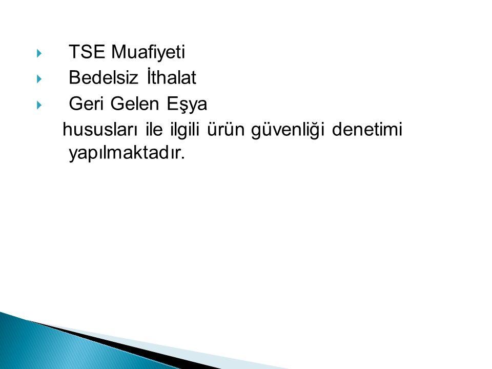 TSE Muafiyeti  Bedelsiz İthalat  Geri Gelen Eşya hususları ile ilgili ürün güvenliği denetimi yapılmaktadır.