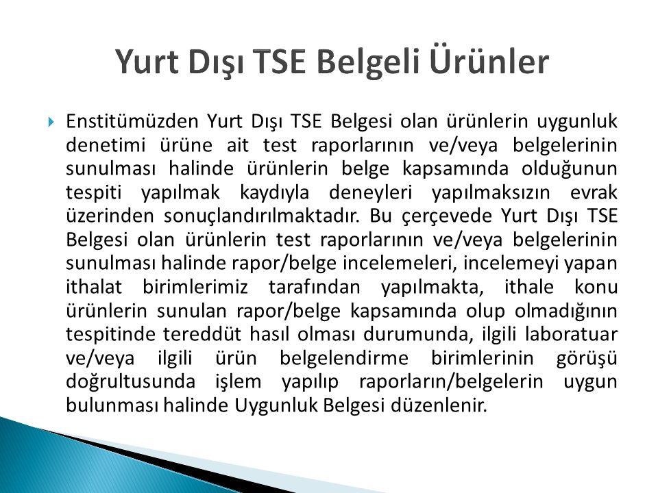 Yurt Dışı TSE Belgeli Ürünler  Enstitümüzden Yurt Dışı TSE Belgesi olan ürünlerin uygunluk denetimi ürüne ait test raporlarının ve/veya belgelerinin