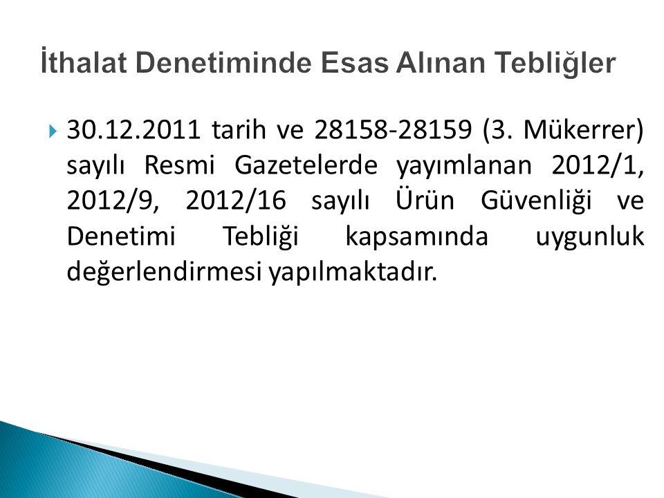  30.12.2011 tarih ve 28158-28159 (3. Mükerrer) sayılı Resmi Gazetelerde yayımlanan 2012/1, 2012/9, 2012/16 sayılı Ürün Güvenliği ve Denetimi Tebliği