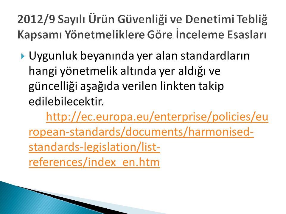  Uygunluk beyanında yer alan standardların hangi yönetmelik altında yer aldığı ve güncelliği aşağıda verilen linkten takip edilebilecektir. http://ec