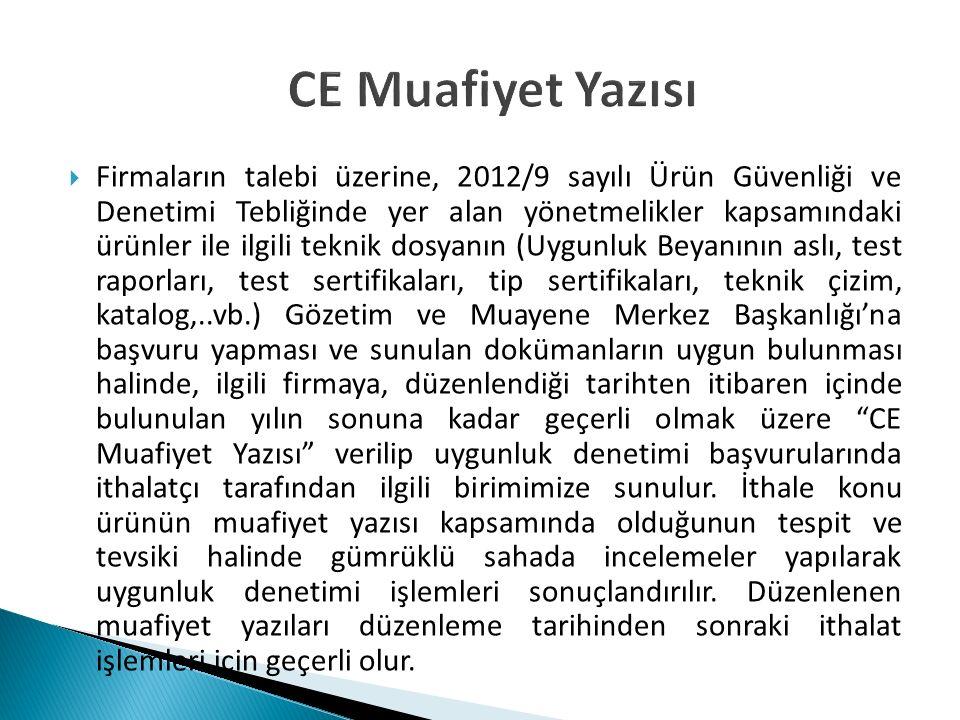 CE Muafiyet Yazısı  Firmaların talebi üzerine, 2012/9 sayılı Ürün Güvenliği ve Denetimi Tebliğinde yer alan yönetmelikler kapsamındaki ürünler ile il