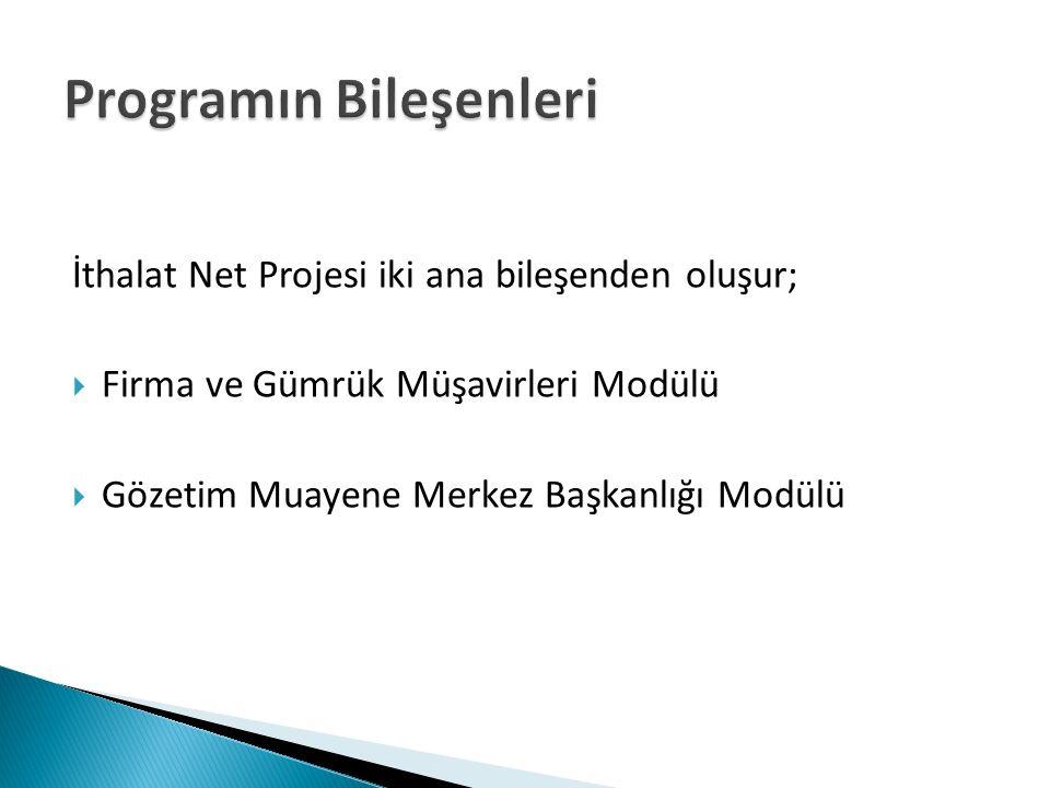Programın Bileşenleri İthalat Net Projesi iki ana bileşenden oluşur;  Firma ve Gümrük Müşavirleri Modülü  Gözetim Muayene Merkez Başkanlığı Modülü