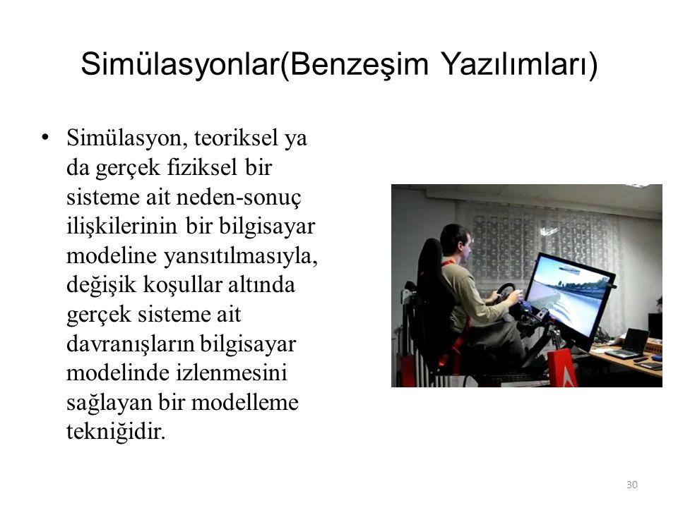 Ders Yazılım Örnekleri (Simülasyonlar,Eğitsel Oyunlar, Animasyonlar) 29