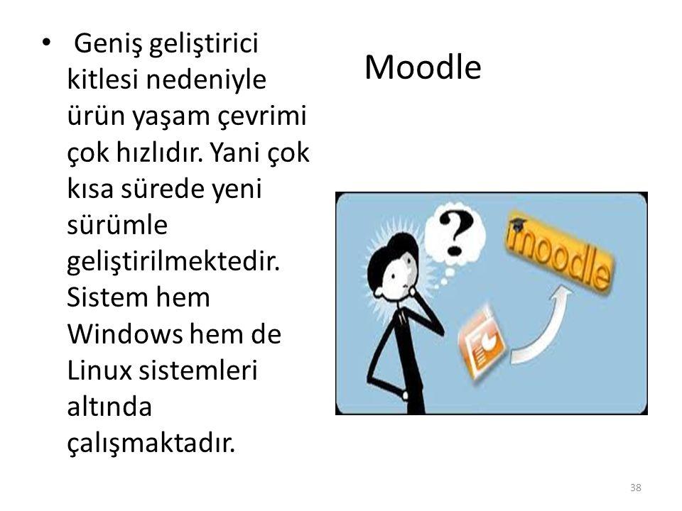 Moodle En önemli özelliği, herkes tarafından (öğretmen, öğrenci) çok kolay şekilde kullanılmasıdır.