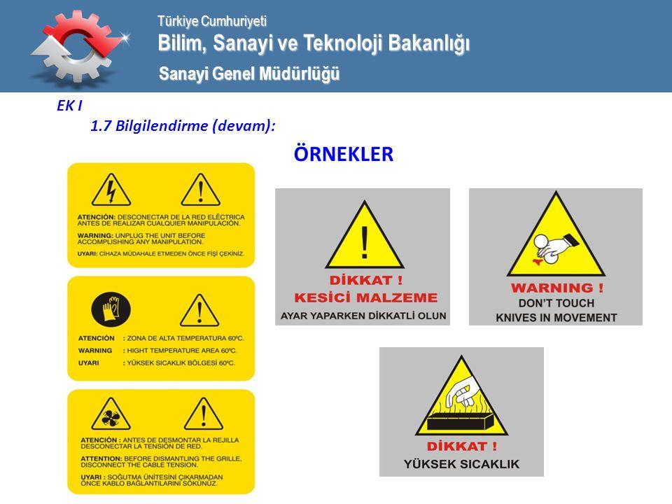 Bilim, Sanayi ve Teknoloji Bakanlığı Türkiye Cumhuriyeti Sanayi Genel Müdürlüğü EK I 1.7 Bilgilendirme (devam): ÖRNEKLER