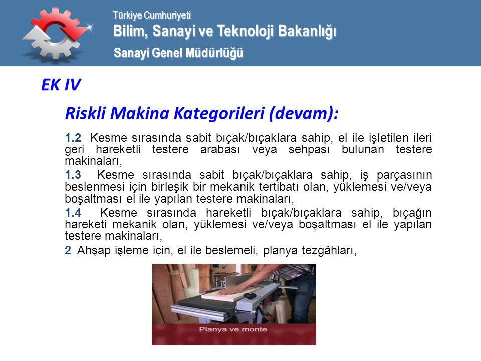 Bilim, Sanayi ve Teknoloji Bakanlığı Türkiye Cumhuriyeti Sanayi Genel Müdürlüğü EK IV Riskli Makina Kategorileri (devam): 1.2 Kesme sırasında sabit bıçak/bıçaklara sahip, el ile işletilen ileri geri hareketli testere arabası veya sehpası bulunan testere makinaları, 1.3 Kesme sırasında sabit bıçak/bıçaklara sahip, iş parçasının beslenmesi için birleşik bir mekanik tertibatı olan, yüklemesi ve/veya boşaltması el ile yapılan testere makinaları, 1.4 Kesme sırasında hareketli bıçak/bıçaklara sahip, bıçağın hareketi mekanik olan, yüklemesi ve/veya boşaltması el ile yapılan testere makinaları, 2 Ahşap işleme için, el ile beslemeli, planya tezgâhları,