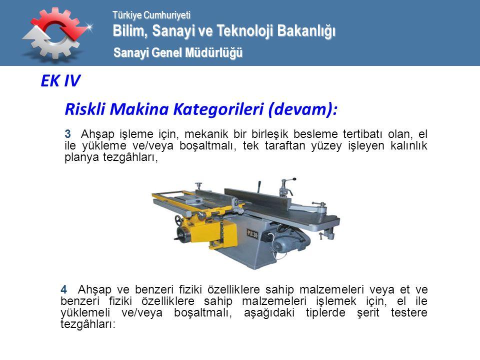 Bilim, Sanayi ve Teknoloji Bakanlığı Türkiye Cumhuriyeti Sanayi Genel Müdürlüğü EK IV Riskli Makina Kategorileri (devam): 3 Ahşap işleme için, mekanik bir birleşik besleme tertibatı olan, el ile yükleme ve/veya boşaltmalı, tek taraftan yüzey işleyen kalınlık planya tezgâhları, 4 Ahşap ve benzeri fiziki özelliklere sahip malzemeleri veya et ve benzeri fiziki özelliklere sahip malzemeleri işlemek için, el ile yüklemeli ve/veya boşaltmalı, aşağıdaki tiplerde şerit testere tezgâhları: