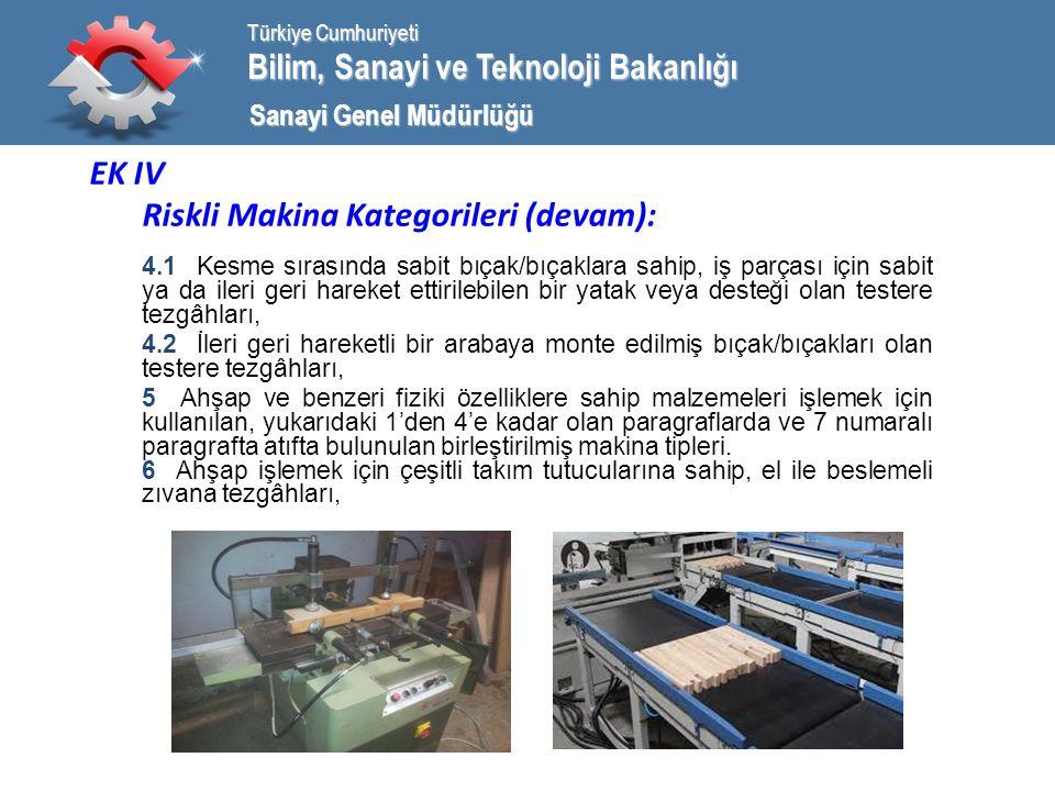 Bilim, Sanayi ve Teknoloji Bakanlığı Türkiye Cumhuriyeti Sanayi Genel Müdürlüğü EK IV Riskli Makina Kategorileri (devam): 4.1 Kesme sırasında sabit bıçak/bıçaklara sahip, iş parçası için sabit ya da ileri geri hareket ettirilebilen bir yatak veya desteği olan testere tezgâhları, 4.2 İleri geri hareketli bir arabaya monte edilmiş bıçak/bıçakları olan testere tezgâhları, 5 Ahşap ve benzeri fiziki özelliklere sahip malzemeleri işlemek için kullanılan, yukarıdaki 1'den 4'e kadar olan paragraflarda ve 7 numaralı paragrafta atıfta bulunulan birleştirilmiş makina tipleri.