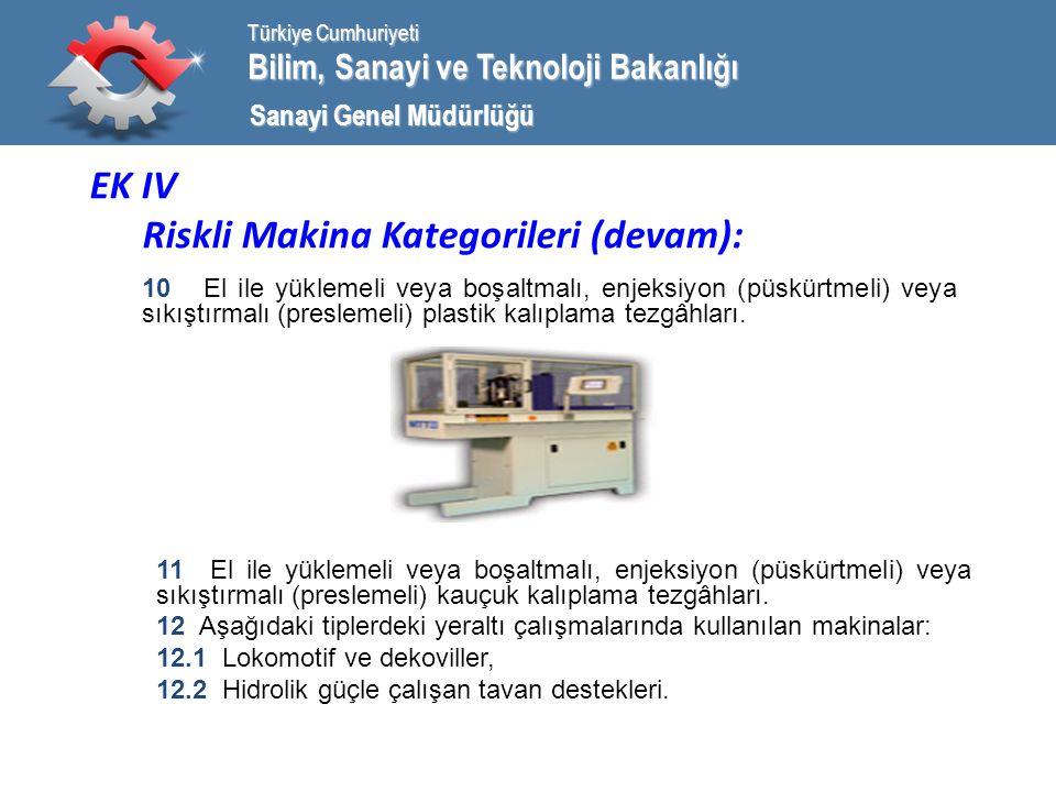 Bilim, Sanayi ve Teknoloji Bakanlığı Türkiye Cumhuriyeti Sanayi Genel Müdürlüğü EK IV Riskli Makina Kategorileri (devam): 10 El ile yüklemeli veya boşaltmalı, enjeksiyon (püskürtmeli) veya sıkıştırmalı (preslemeli) plastik kalıplama tezgâhları.