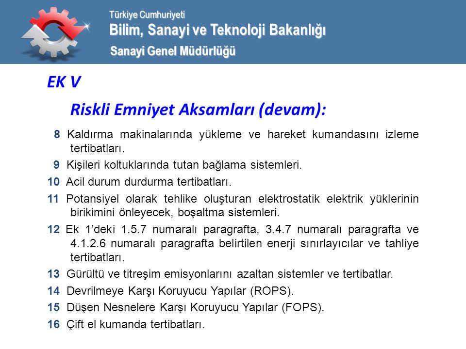 Bilim, Sanayi ve Teknoloji Bakanlığı Türkiye Cumhuriyeti Sanayi Genel Müdürlüğü EK V Riskli Emniyet Aksamları (devam): 8 Kaldırma makinalarında yükleme ve hareket kumandasını izleme tertibatları.