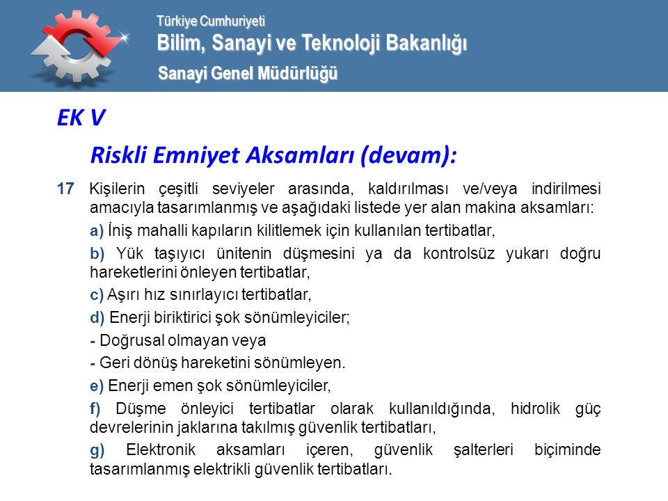 Bilim, Sanayi ve Teknoloji Bakanlığı Türkiye Cumhuriyeti Sanayi Genel Müdürlüğü EK V Riskli Emniyet Aksamları (devam): 17 Kişilerin çeşitli seviyeler arasında, kaldırılması ve/veya indirilmesi amacıyla tasarımlanmış ve aşağıdaki listede yer alan makina aksamları: a) İniş mahalli kapıların kilitlemek için kullanılan tertibatlar, b) Yük taşıyıcı ünitenin düşmesini ya da kontrolsüz yukarı doğru hareketlerini önleyen tertibatlar, c) Aşırı hız sınırlayıcı tertibatlar, d) Enerji biriktirici şok sönümleyiciler; - Doğrusal olmayan veya - Geri dönüş hareketini sönümleyen.
