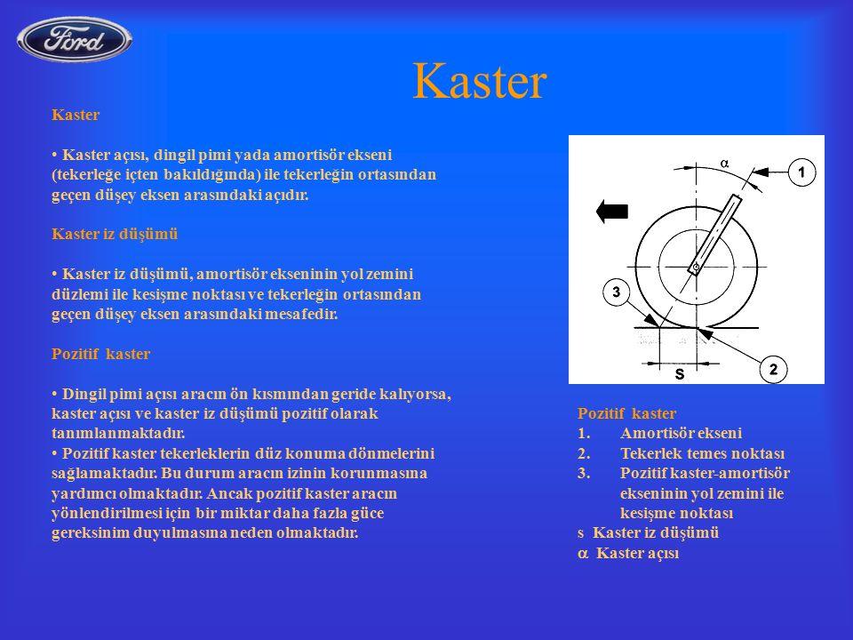 Kaster Kaster açısı, dingil pimi yada amortisör ekseni (tekerleğe içten bakıldığında) ile tekerleğin ortasından geçen düşey eksen arasındaki açıdır.