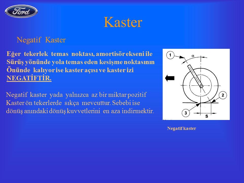Negatif kaster Kaster Negatif Kaster Eğer tekerlek temas noktası, amortisör ekseni ile Sürüş yönünde yola temas eden kesişme noktasının Önünde kalıyor ise kaster açısı ve kaster izi NEGATİFTİR.
