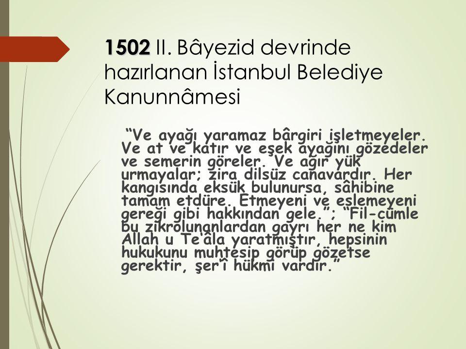 """1502 1502 II. Bâyezid devrinde hazırlanan İstanbul Belediye Kanunnâmesi """"Ve ayağı yaramaz bârgiri işletmeyeler. Ve at ve katır ve eşek ayağını gözedel"""