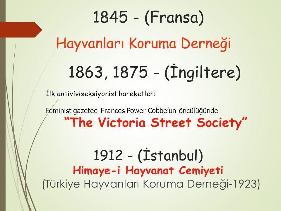 1845 - (Fransa) Hayvanları Koruma Derneği İlk antiviviseksiyonist hareketler: Feminist gazeteci Frances Power Cobbe'un öncülüğünde The Victoria Street Society 1863, 1875 - (İngiltere) Himaye-i Hayvanat Cemiyeti 1912 - (İstanbul) Himaye-i Hayvanat Cemiyeti (Türkiye Hayvanları Koruma Derneği-1923)