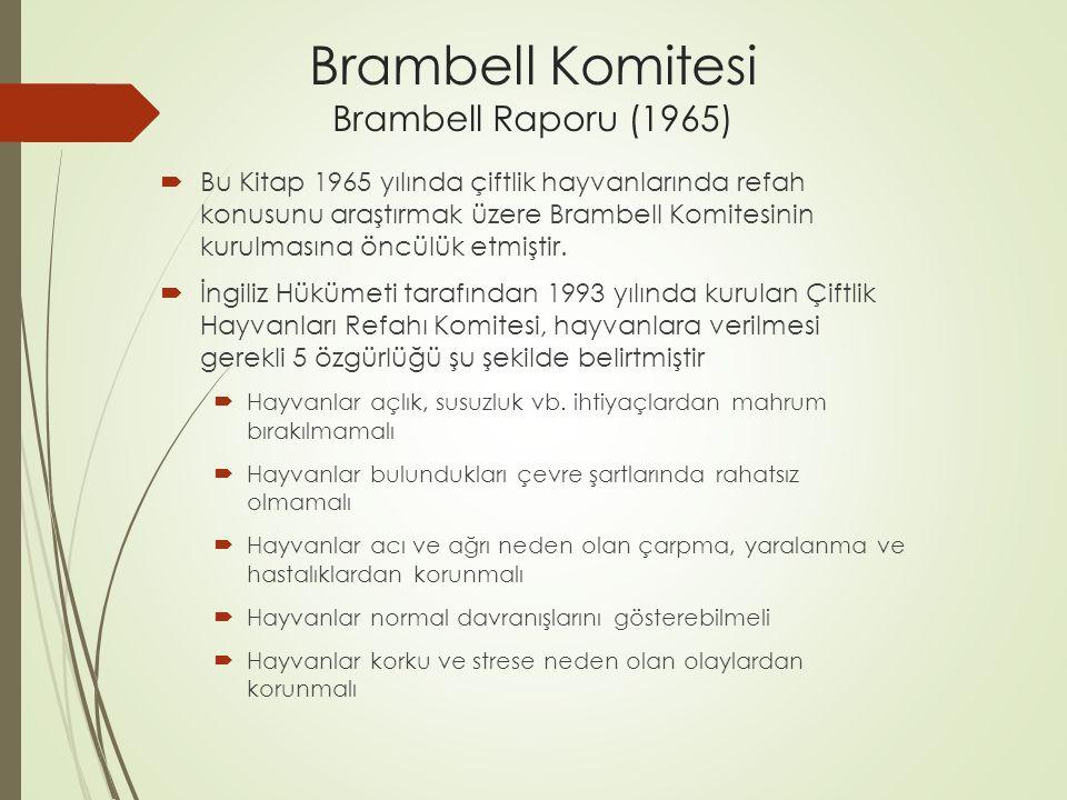Brambell Komitesi Brambell Raporu (1965)  Bu Kitap 1965 yılında çiftlik hayvanlarında refah konusunu araştırmak üzere Brambell Komitesinin kurulmasına öncülük etmiştir.