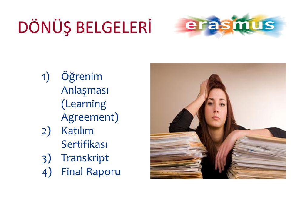 DÖNÜŞ BELGELERİ 1)Öğrenim Anlaşması (Learning Agreement) 2)Katılım Sertifikası 3)Transkript 4)Final Raporu