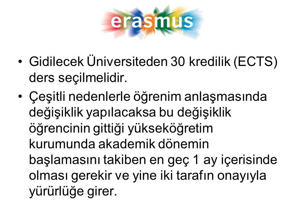 Gidilecek Üniversiteden 30 kredilik (ECTS) ders seçilmelidir. Çeşitli nedenlerle öğrenim anlaşmasında değişiklik yapılacaksa bu değişiklik öğrencinin