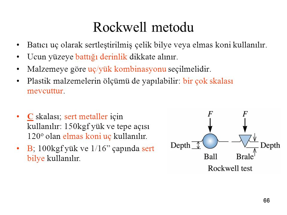 66 Rockwell metodu Batıcı uç olarak sertleştirilmiş çelik bilye veya elmas koni kullanılır. Ucun yüzeye battığı derinlik dikkate alınır. Malzemeye gör