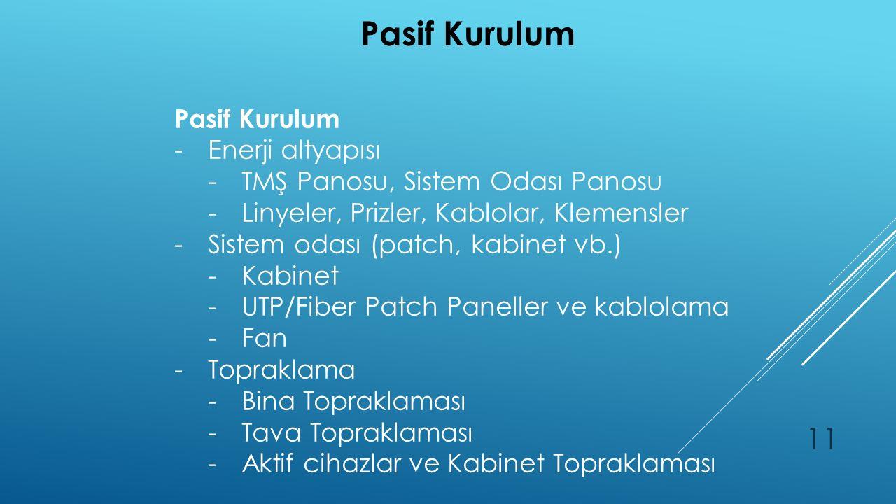 Pasif Kurulum 11 Pasif Kurulum -Enerji altyapısı -TMŞ Panosu, Sistem Odası Panosu -Linyeler, Prizler, Kablolar, Klemensler -Sistem odası (patch, kabinet vb.) -Kabinet -UTP/Fiber Patch Paneller ve kablolama -Fan -Topraklama -Bina Topraklaması -Tava Topraklaması -Aktif cihazlar ve Kabinet Topraklaması