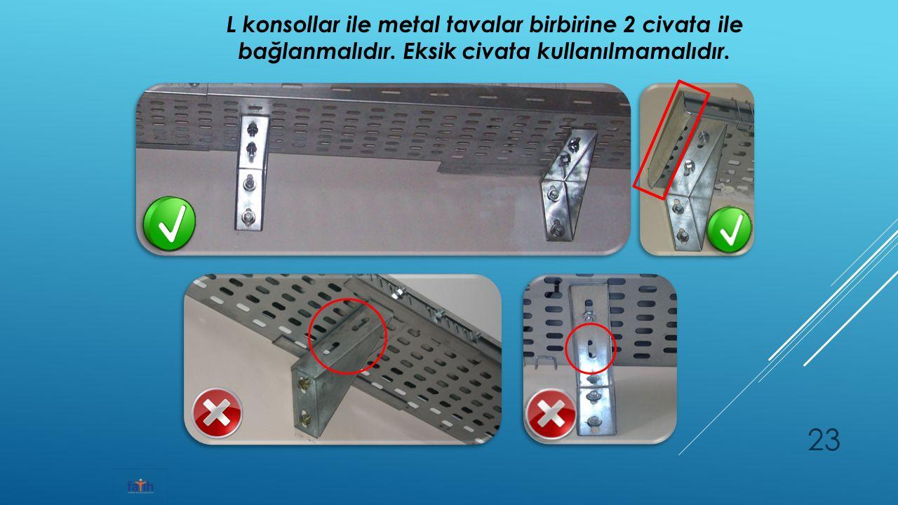L konsollar ile metal tavalar birbirine 2 civata ile bağlanmalıdır.