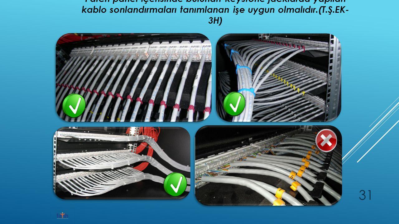 Patch panel içerisinde bulunan keystone jacklarda yapılan kablo sonlandırmaları tanımlanan işe uygun olmalıdır.(T.Ş.EK- 3H) 31
