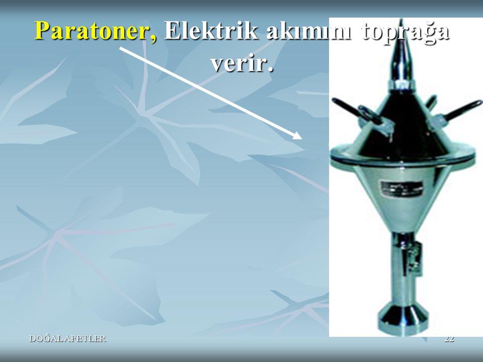 DOĞAL AFETLER22 Paratoner, Elektrik akımını toprağa verir.