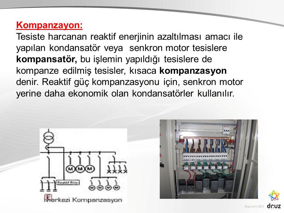 Ergonomi-201 Kompanzayon: Tesiste harcanan reaktif enerjinin azaltılması amacı ile yapılan kondansatör veya senkron motor tesislere kompansatör, bu iş
