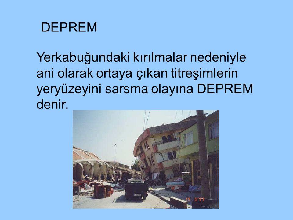 DEPREM Yerkabuğundaki kırılmalar nedeniyle ani olarak ortaya çıkan titreşimlerin yeryüzeyini sarsma olayına DEPREM denir.