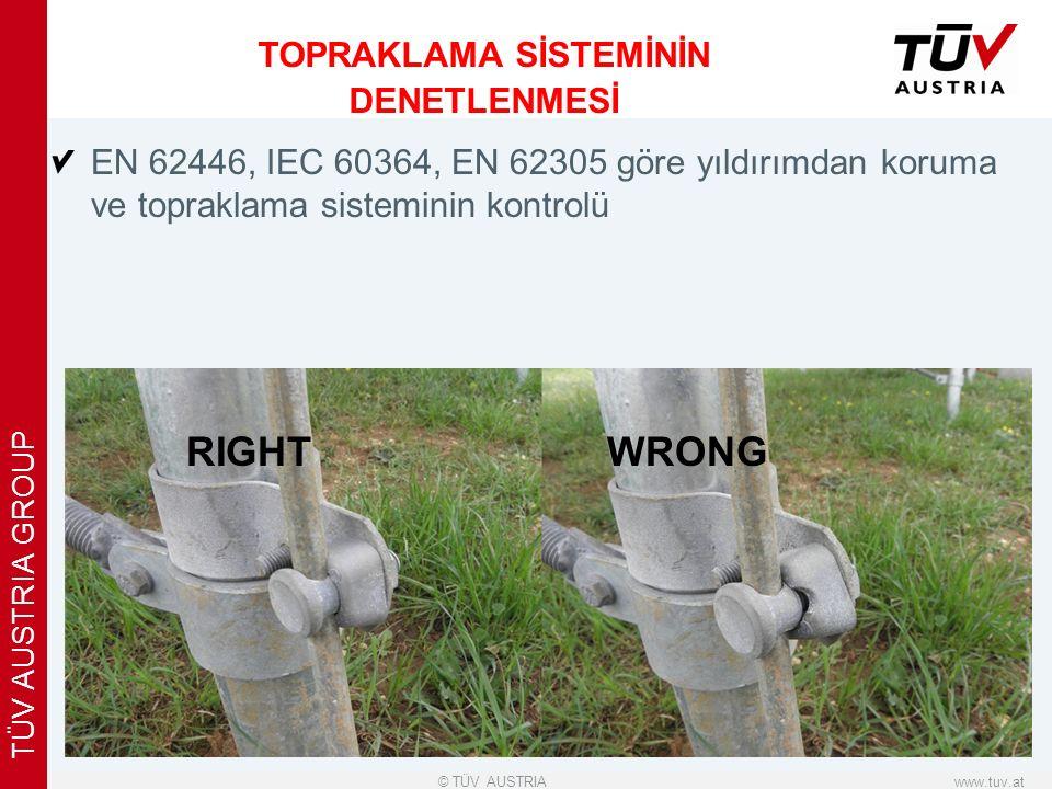 x www.tuv.at© TÜV AUSTRIA TÜV AUSTRIA GROUP EN 62446, IEC 60364, EN 62305 göre yıldırımdan koruma ve topraklama sisteminin kontrolü TOPRAKLAMA SİSTEMİNİN DENETLENMESİ RIGHTWRONG