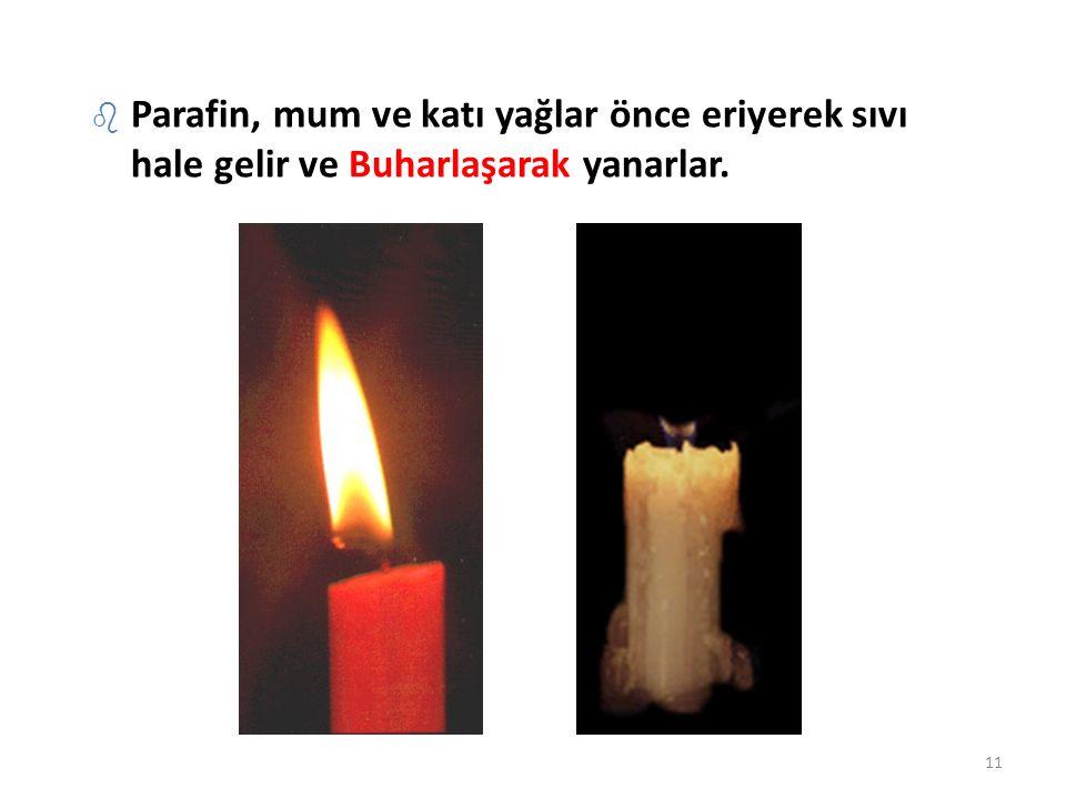 b Parafin, mum ve katı yağlar önce eriyerek sıvı hale gelir ve Buharlaşarak yanarlar. 11