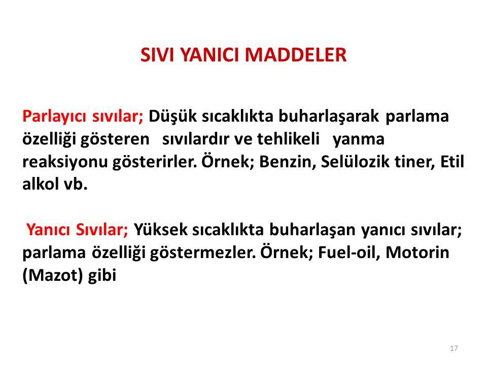 SIVI YANICI MADDELER Parlayıcı sıvılar; Düşük sıcaklıkta buharlaşarak parlama özelliği gösteren sıvılardır ve tehlikeli yanma reaksiyonu gösterirler.