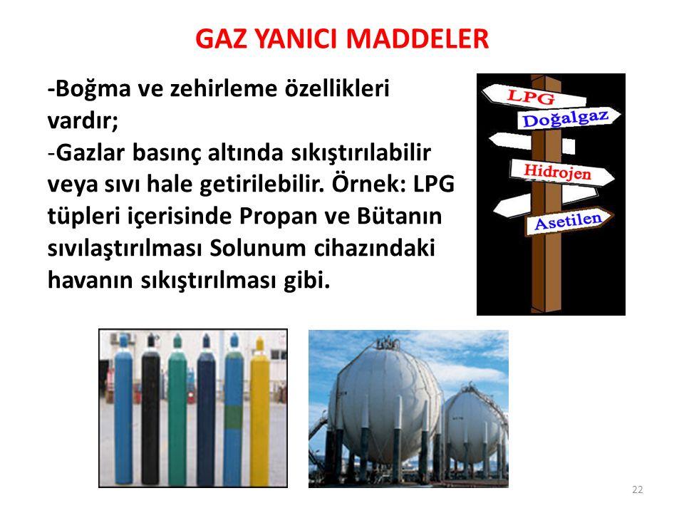 GAZ YANICI MADDELER 22 -Boğma ve zehirleme özellikleri vardır; -Gazlar basınç altında sıkıştırılabilir veya sıvı hale getirilebilir. Örnek: LPG tüpler