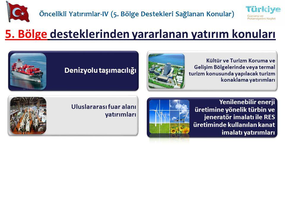 5. Bölge desteklerinden yararlanan yatırım konuları Denizyolu taşımacılığı Kültür ve Turizm Koruma ve Gelişim Bölgelerinde veya termal turizm konusund
