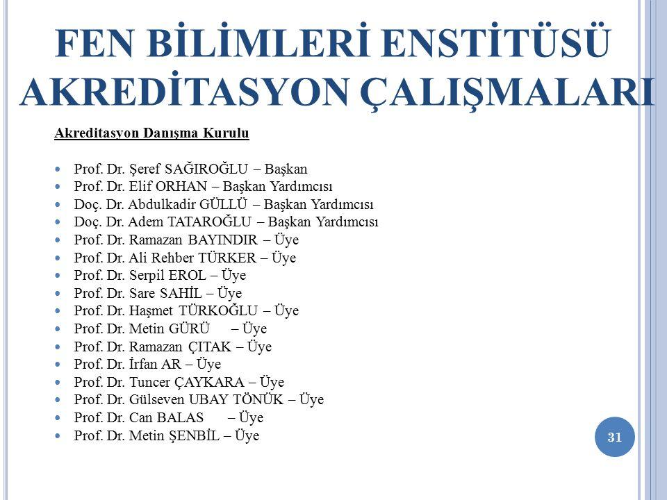 31 FEN BİLİMLERİ ENSTİTÜSÜ AKREDİTASYON ÇALIŞMALARI Akreditasyon Danışma Kurulu Prof.