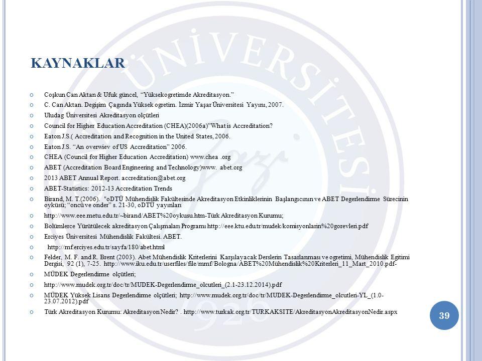 Coşkun Can Aktan & Ufuk güncel, Yüksekogretimde Akreditasyon. C.