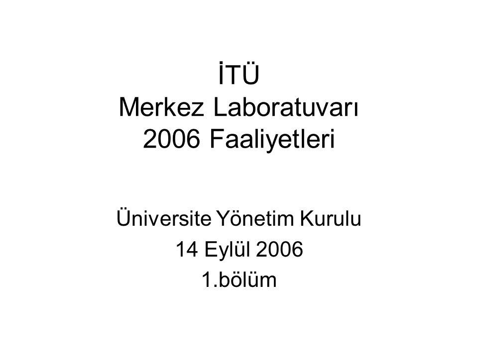 İTÜ Merkez Laboratuvarı 2006 Faaliyetleri Üniversite Yönetim Kurulu 14 Eylül 2006 1.bölüm