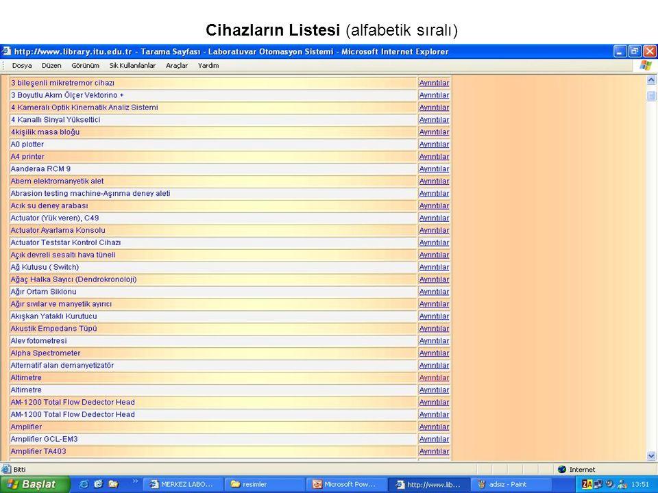 Cihazların Listesi (alfabetik sıralı)