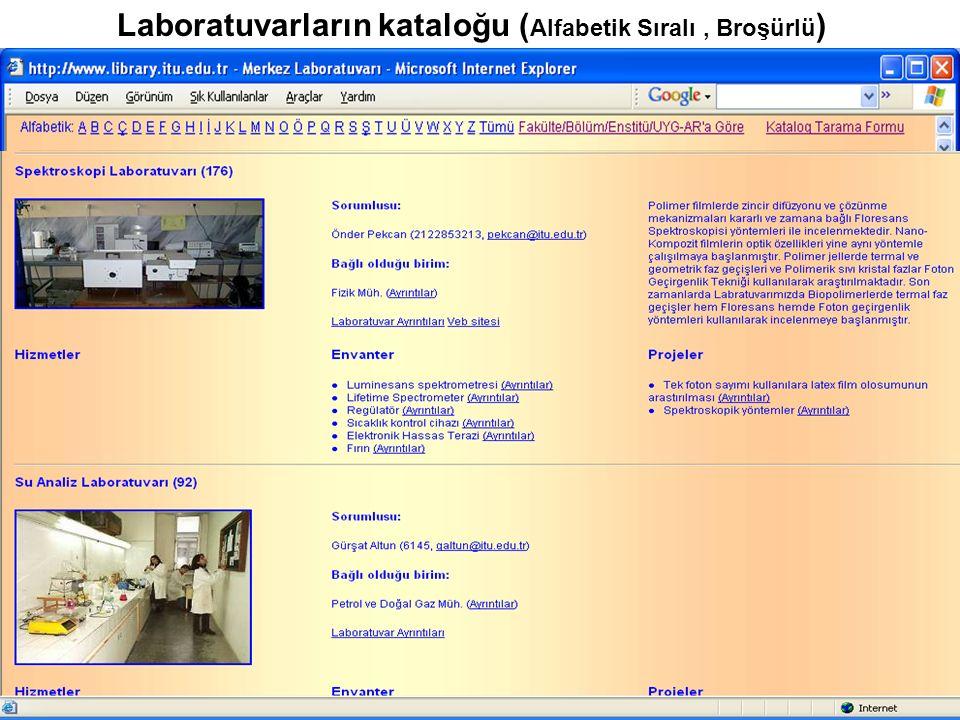 Laboratuvarların kataloğu ( Alfabetik Sıralı, Broşürlü )