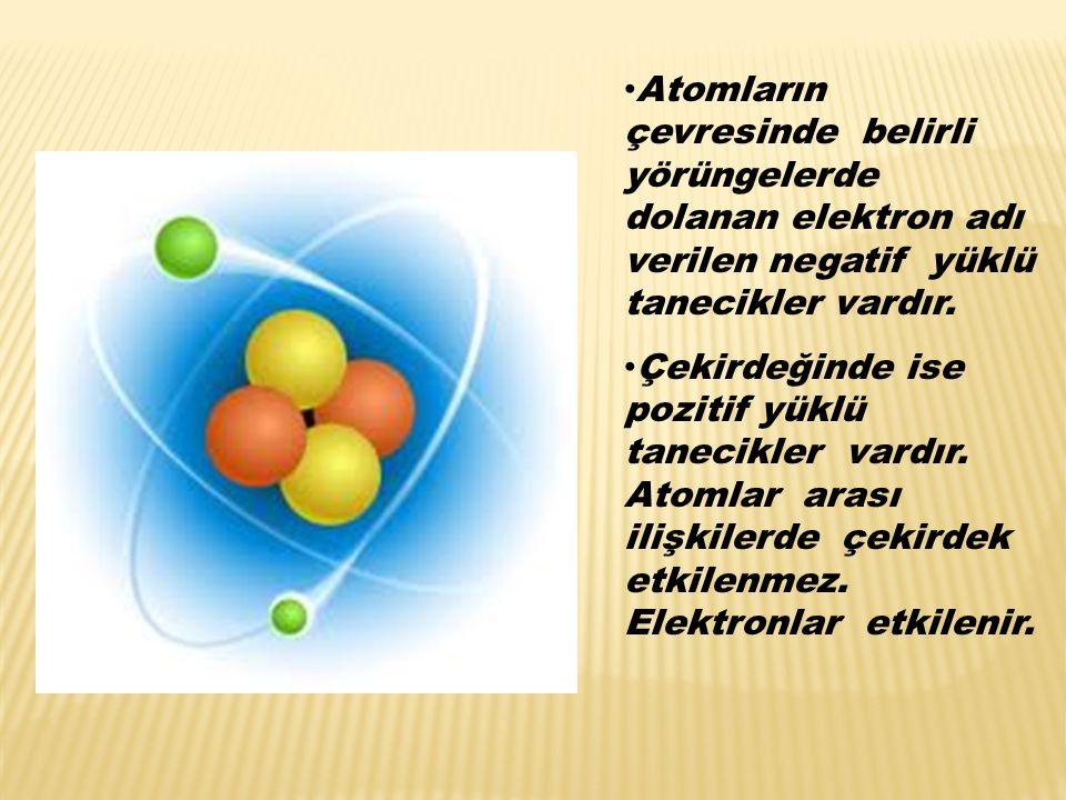 Elektriğin kaynağı atomlardır. Atom, ortada bir çekirdek ve çevresinde dolanan elektronlardan oluşur. Atomun çekirdeği proton ve nötronlardan oluşmuşt