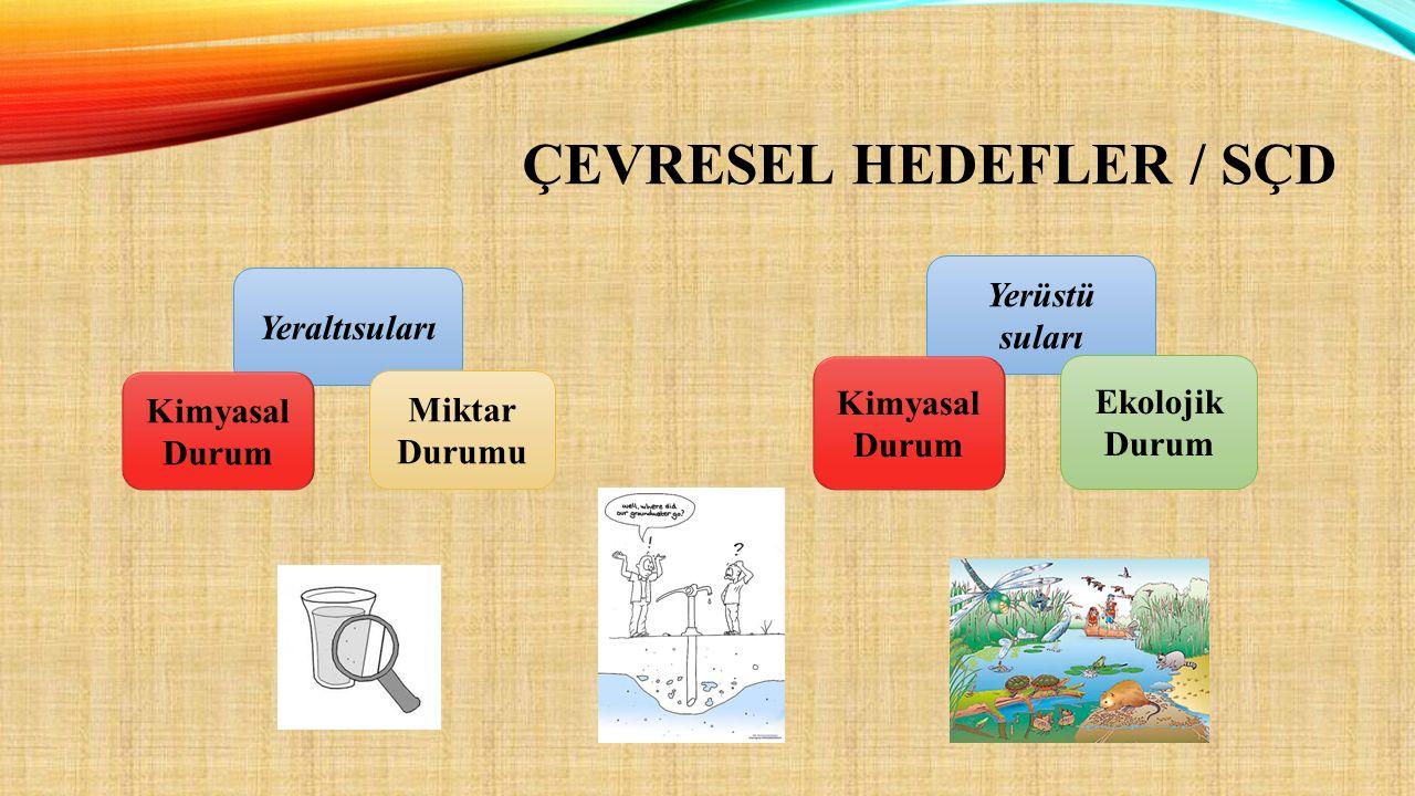 Yeraltısuları Kimyasal Durum Miktar Durumu Yerüstü suları Kimyasal Durum Ekolojik Durum ÇEVRESEL HEDEFLER / SÇD