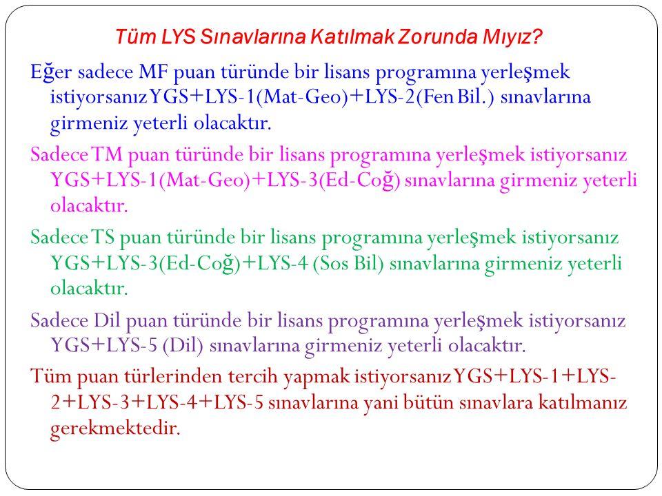Tüm LYS Sınavlarına Katılmak Zorunda Mıyız.