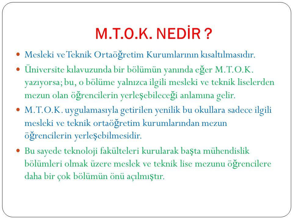 M.T.O.K. NEDİR . Mesleki ve Teknik Ortaö ğ retim Kurumlarının kısaltılmasıdır.