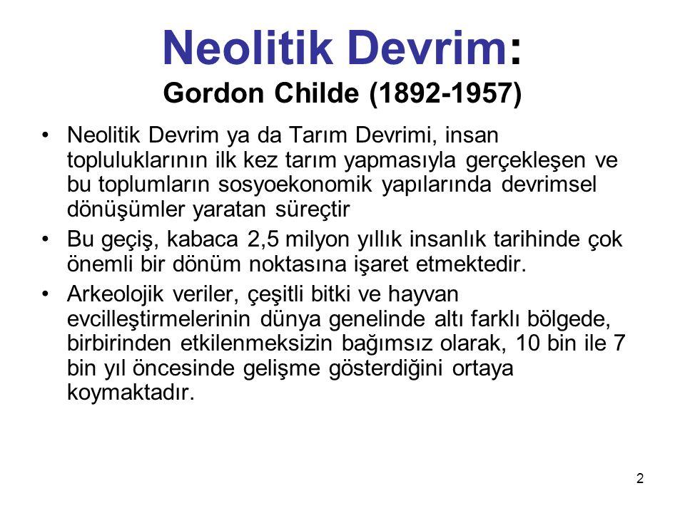 2 Neolitik Devrim: Gordon Childe (1892-1957) Neolitik Devrim ya da Tarım Devrimi, insan topluluklarının ilk kez tarım yapmasıyla gerçekleşen ve bu top