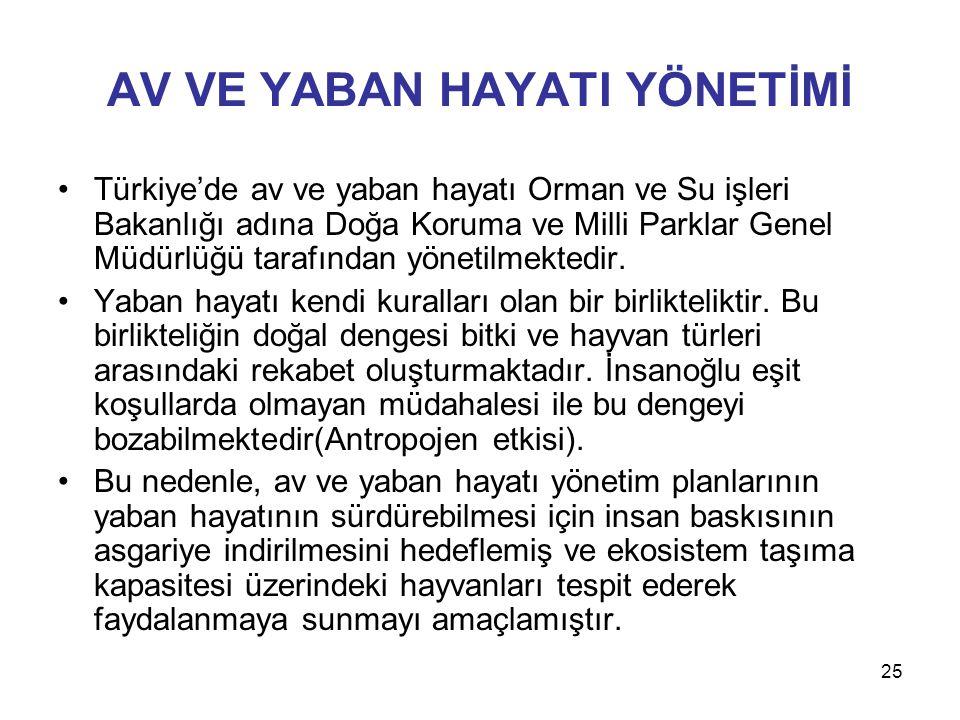 25 AV VE YABAN HAYATI YÖNETİMİ Türkiye'de av ve yaban hayatı Orman ve Su işleri Bakanlığı adına Doğa Koruma ve Milli Parklar Genel Müdürlüğü tarafında