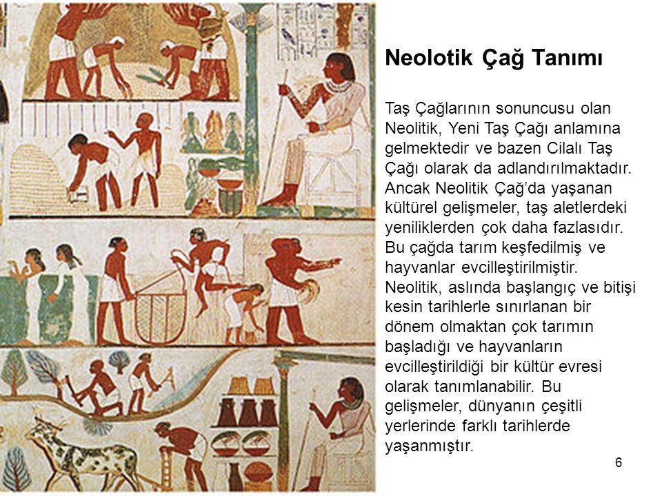 6 Neolotik Çağ Tanımı Taş Çağlarının sonuncusu olan Neolitik, Yeni Taş Çağı anlamına gelmektedir ve bazen Cilalı Taş Çağı olarak da adlandırılmaktadır