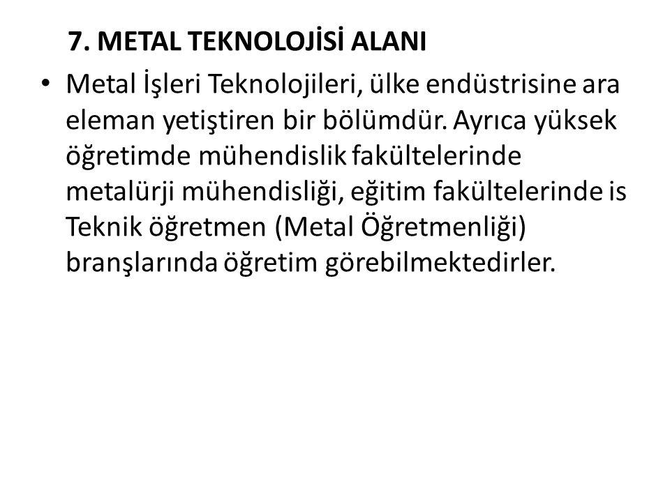 7. METAL TEKNOLOJİSİ ALANI Metal İşleri Teknolojileri, ülke endüstrisine ara eleman yetiştiren bir bölümdür. Ayrıca yüksek öğretimde mühendislik fakül