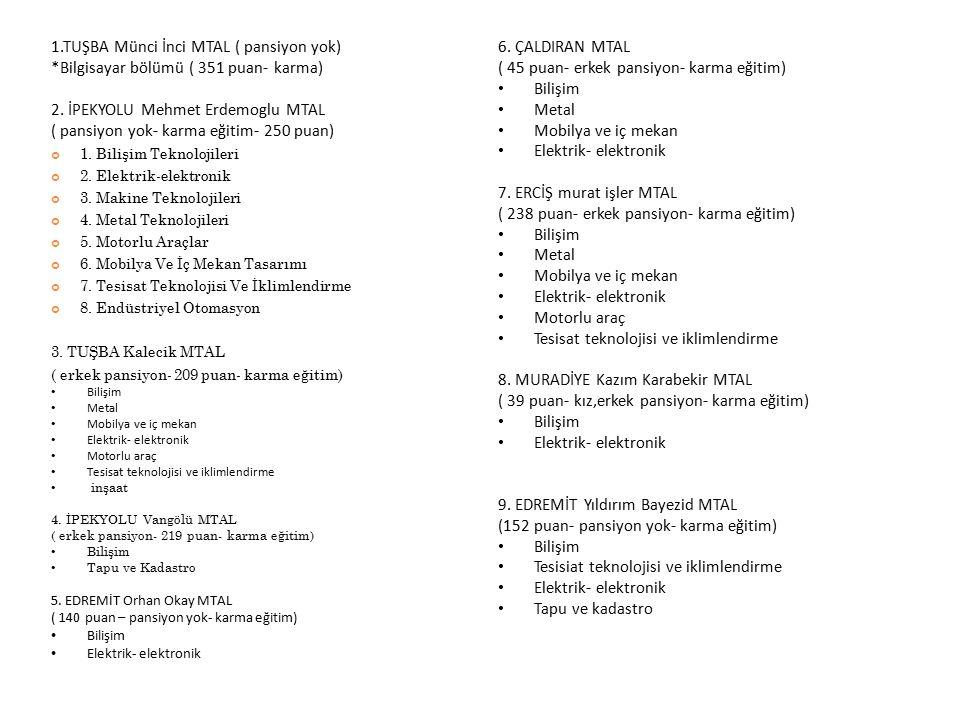 1.TUŞBA Münci İnci MTAL ( pansiyon yok) *Bilgisayar bölümü ( 351 puan- karma) 2. İPEKYOLU Mehmet Erdemoglu MTAL ( pansiyon yok- karma eğitim- 250 puan
