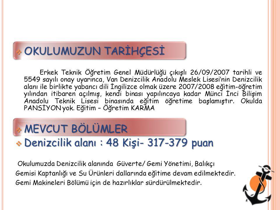  OKULUMUZUN TARİHÇESİ Erkek Teknik Öğretim Genel Müdürlüğü çıkışlı 26/09/2007 tarihli ve 5549 sayılı onay uyarınca, Van Denizcilik Anadolu Meslek Lis