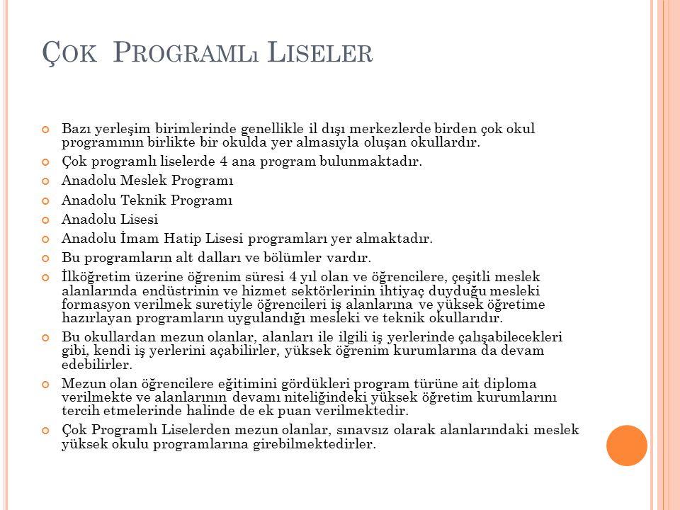 Ç OK P ROGRAMLı L ISELER Bazı yerleşim birimlerinde genellikle il dışı merkezlerde birden çok okul programının birlikte bir okulda yer almasıyla oluşa